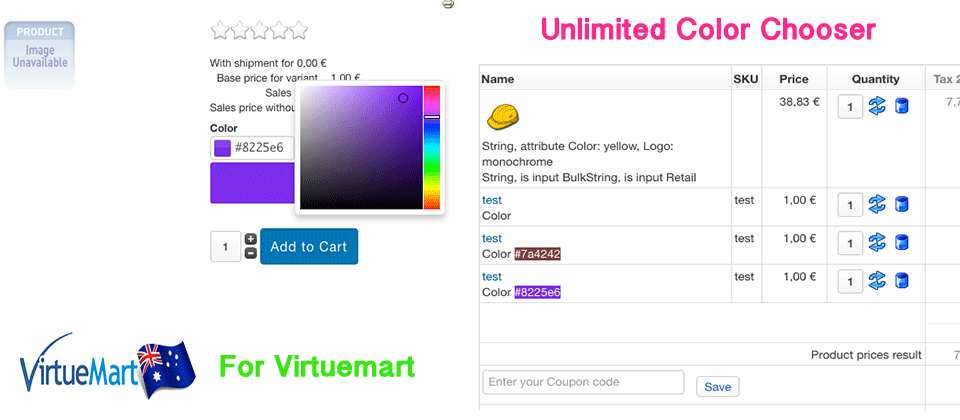 Unlimited Color Chooser For Virtuemart